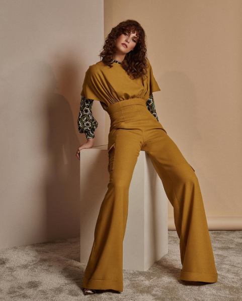 Seventies inspired shoot featuring Ong-Oaj Pairam jumpsuit